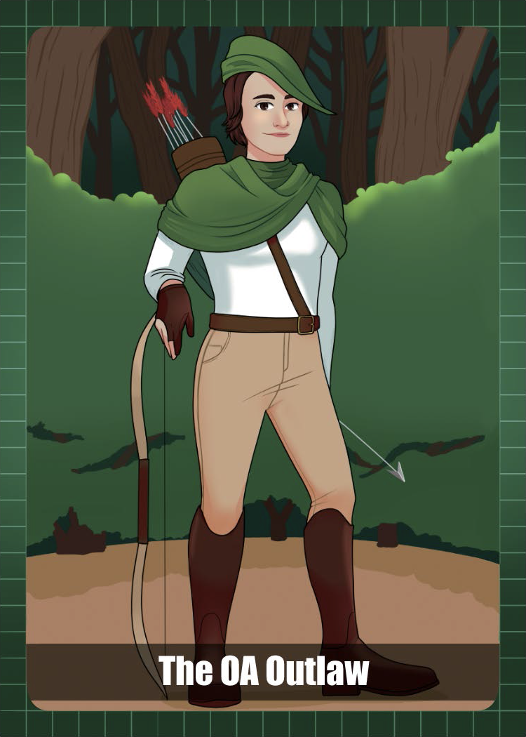 Woman dressed as Robin Hood resting on a bow in the forest