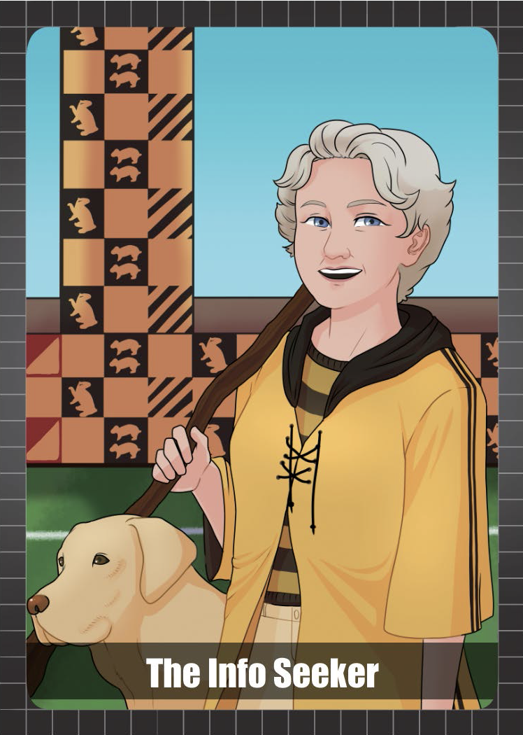 Woman dressed as a Hufflepuff (yellow and black) quidditch player next to a golden retriever