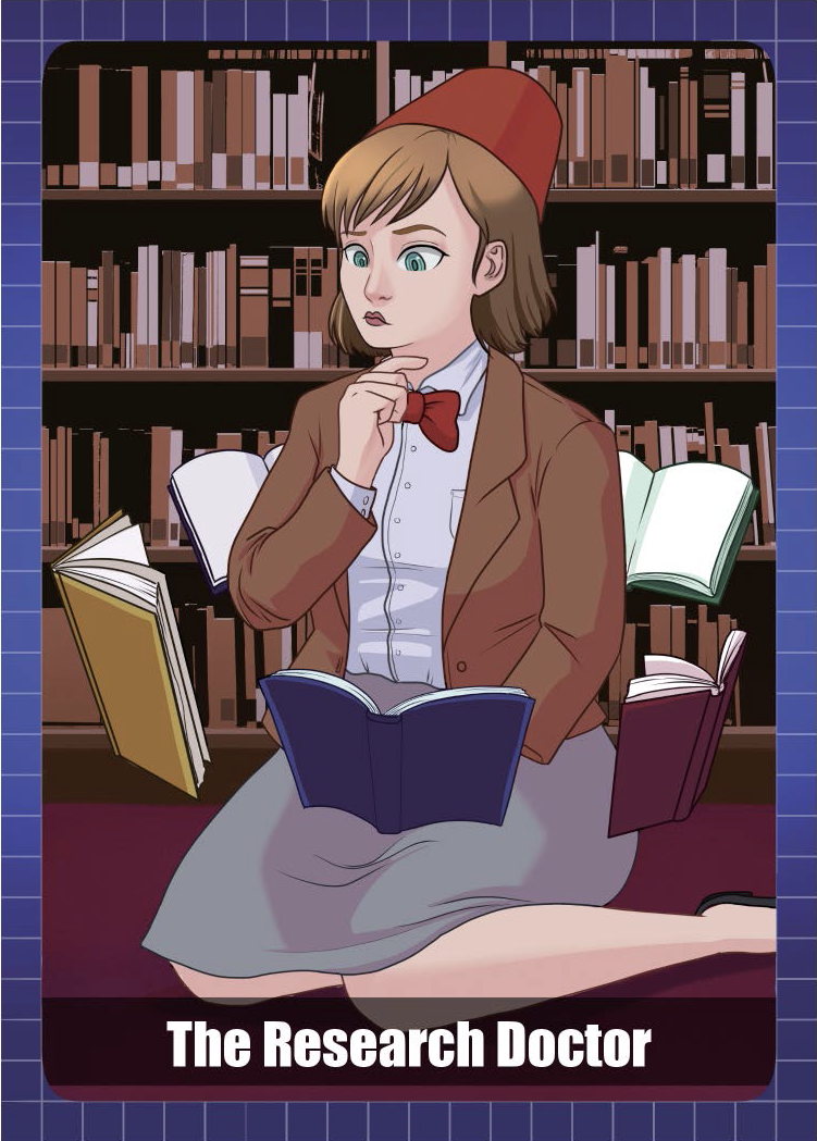 Woman in a fez and bowtie sitting in a library surrounded by hovering books
