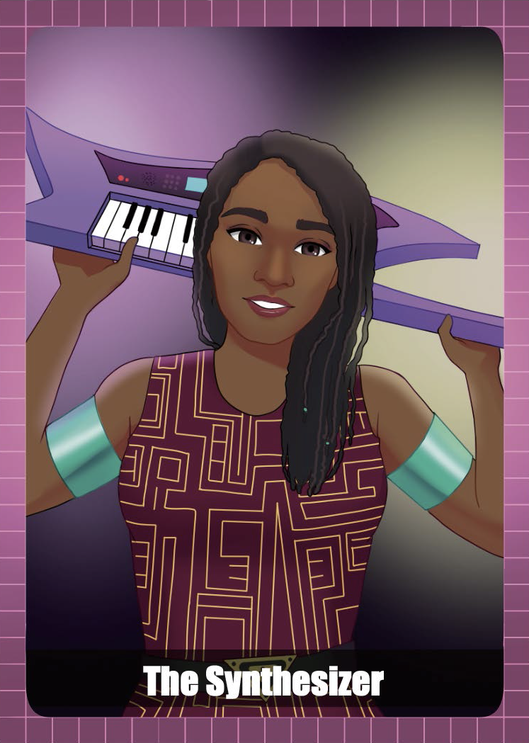 woman with afrofuturistic clouting holding a key tar