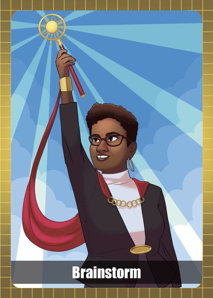 Woman with a red cape and a sun staff pointed to the sky
