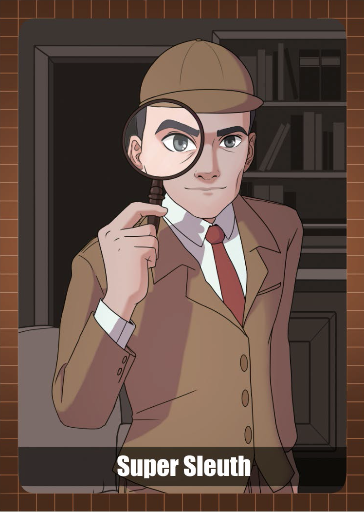 Paul Showalter as Super Sleuth - man dressed as Sherlock Holmes with a magnifying glass held up to his face