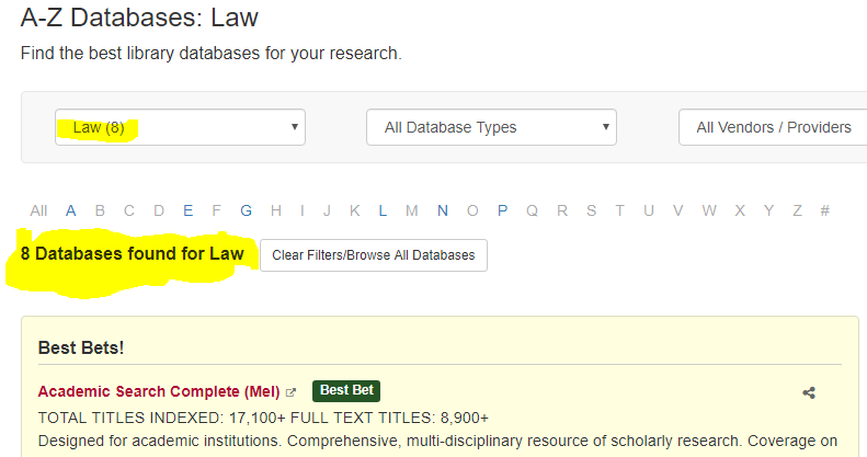 Narrowing databases to the area of Law.