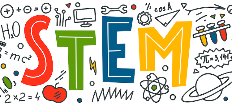 STEM hand-drawn image with science, technology, engineering, and mathematics symbols