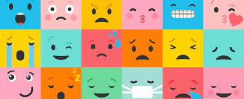 many faces, each showing a different emotion