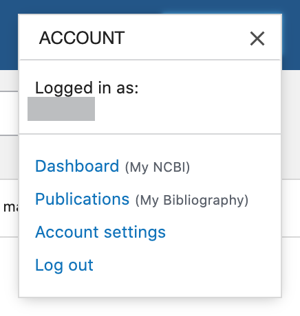 Account menu available after logging into My NCBI