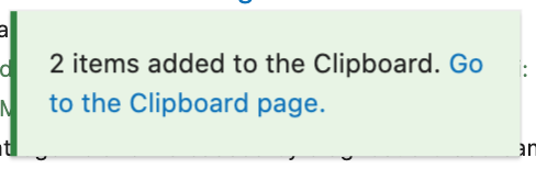 Alert visible when items are added to Clipboard