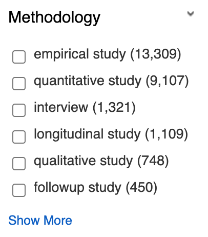 The Methodology category of limits visible after running a search. Only the 6 options with the most hits are visible.