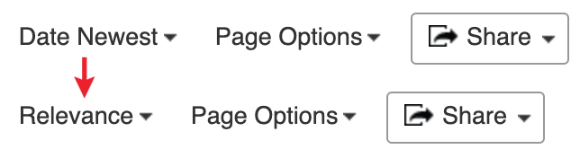 Sort Options and Page Options. An arrow points from Date Newest (the default sort option) to Relevance.
