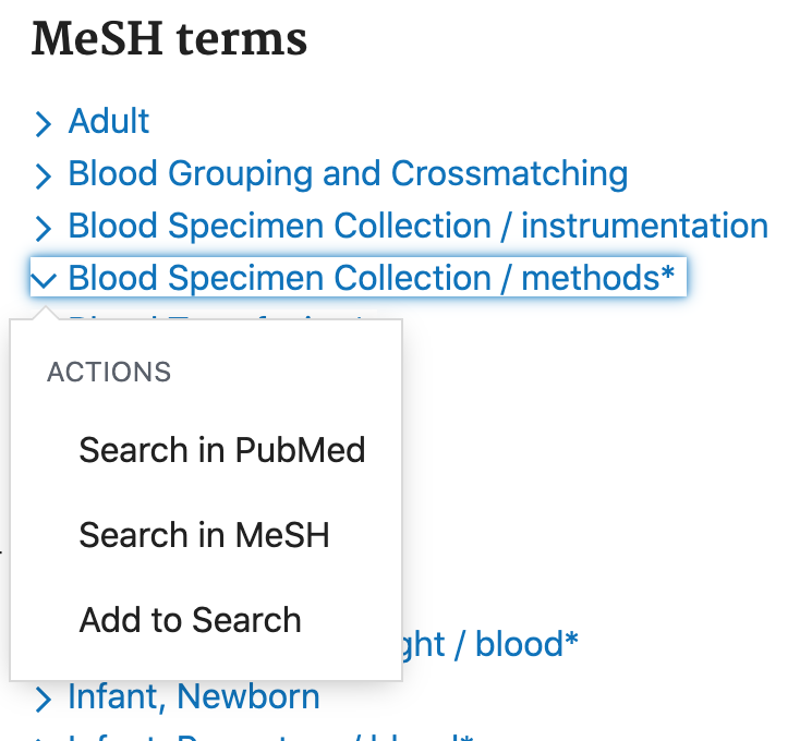 Actions available for a MeSH term