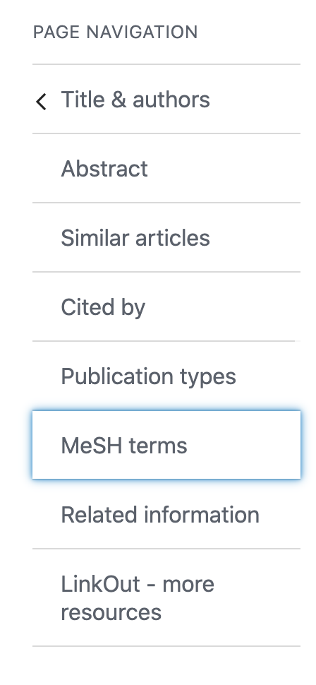 Citation page navigation showing MeSH terms section highlighted
