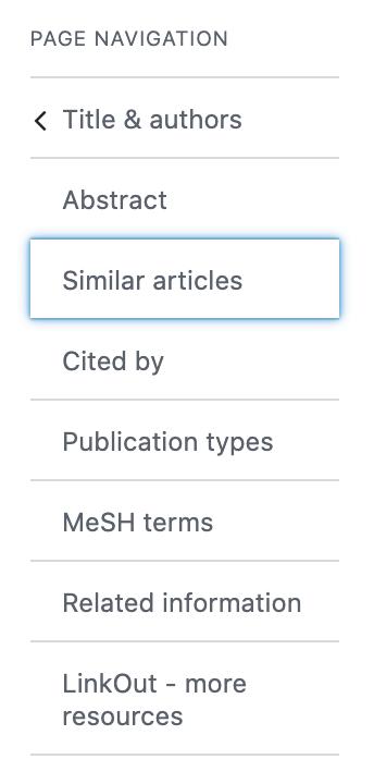 Citation page navigation showing similar articles