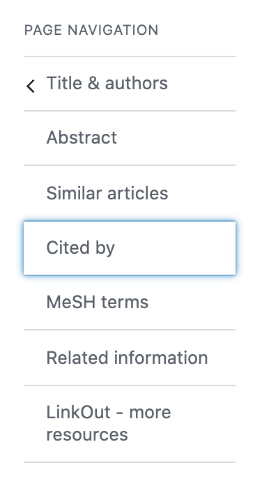 Citation page navigation showing Cited by link