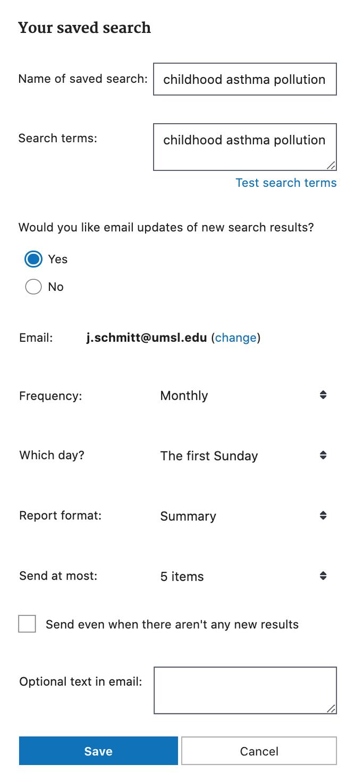 Options when creating an alert