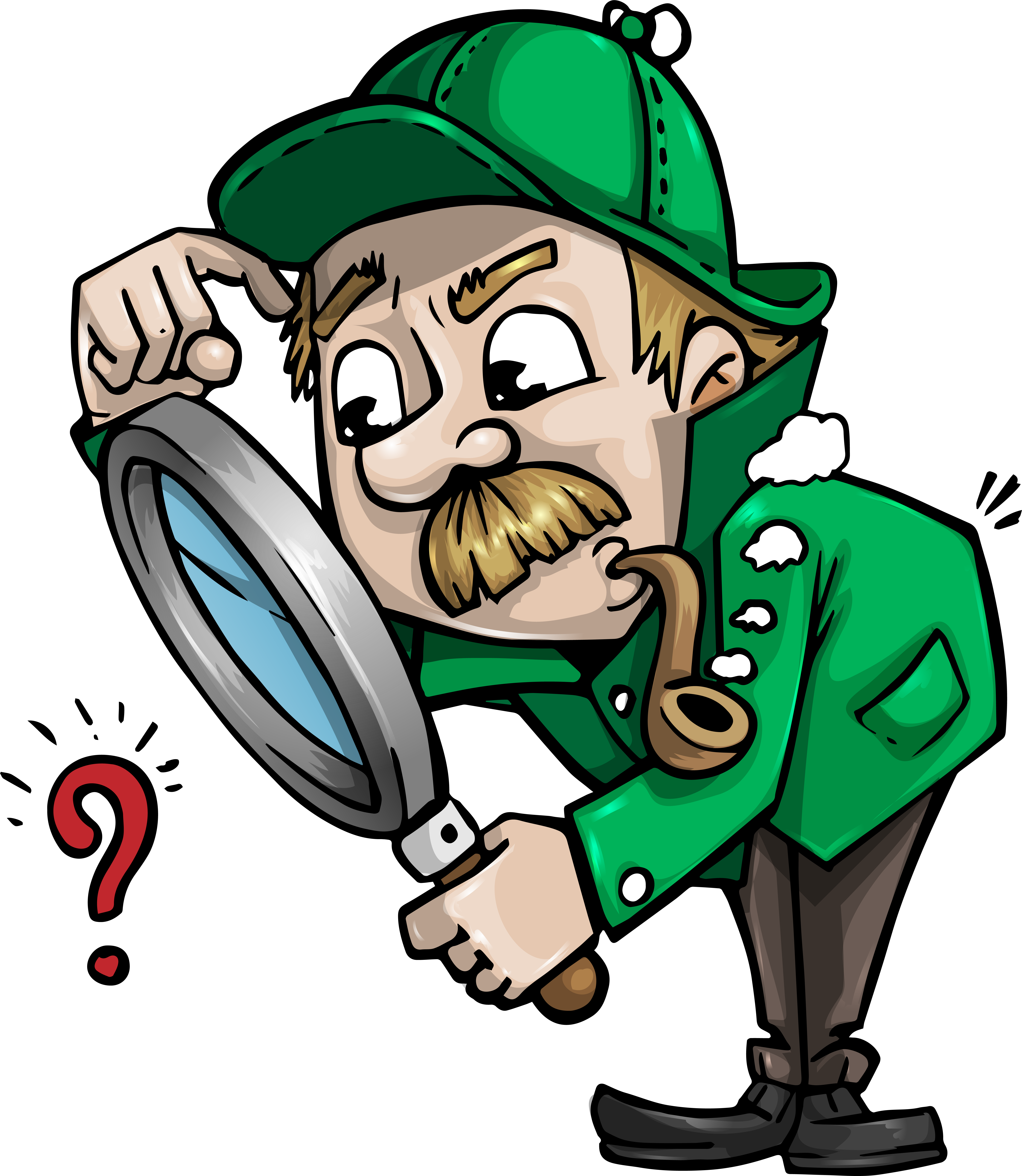 Detective searching for clues with a magnifying glass