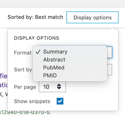 Display options for format