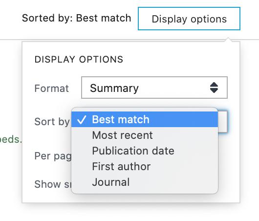 Display options for sorting