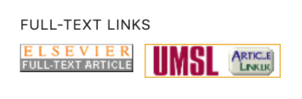 """Two full-text links for an article: one reads """"Elsevier full-text article"""" and one reads """"UMSL Article Linker"""""""