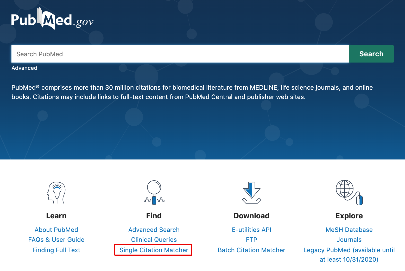 Link to access Single Citation Matcher from homepage