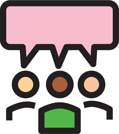 Icon representing a group discussion
