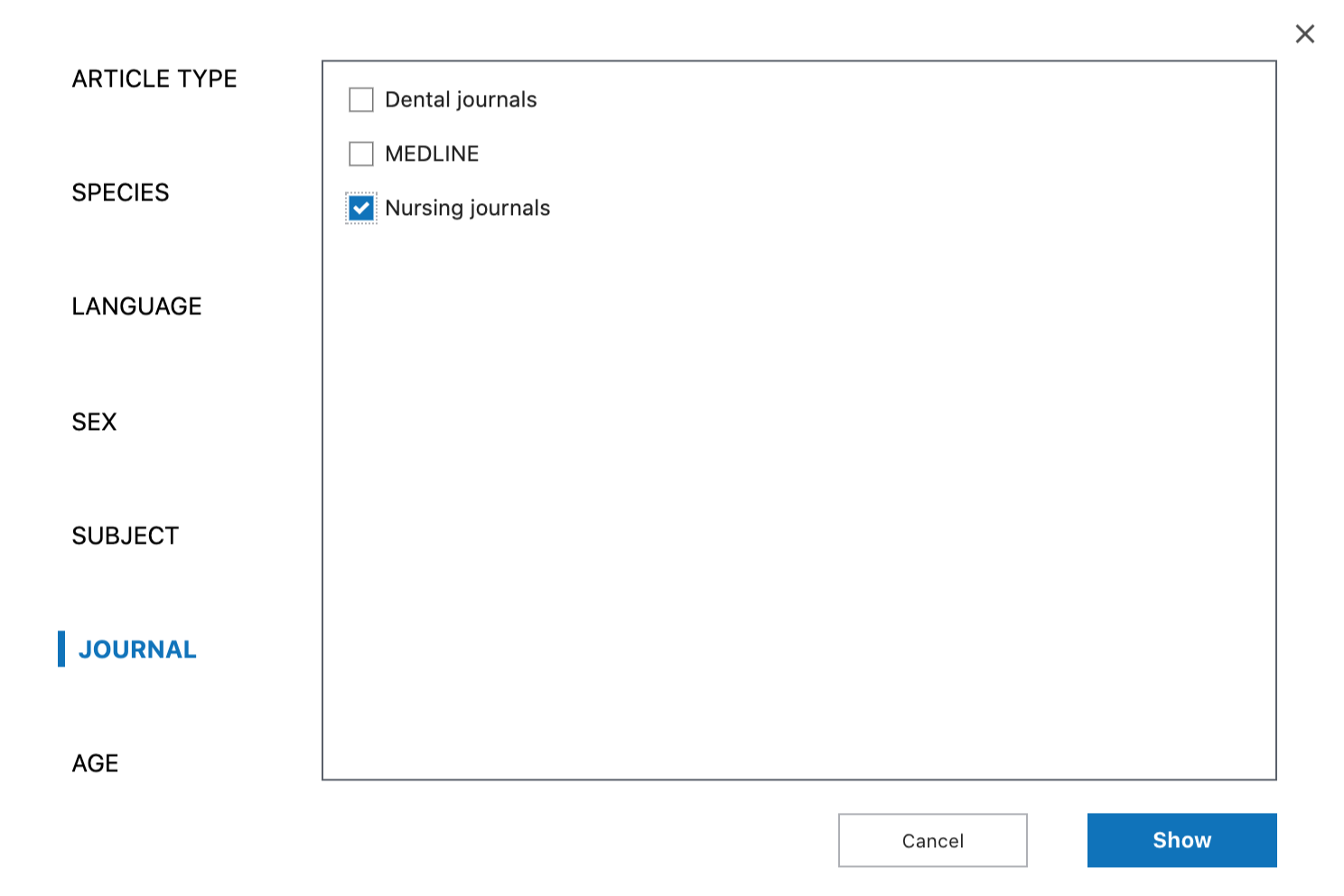 Adding Nursing journals to the visible filters