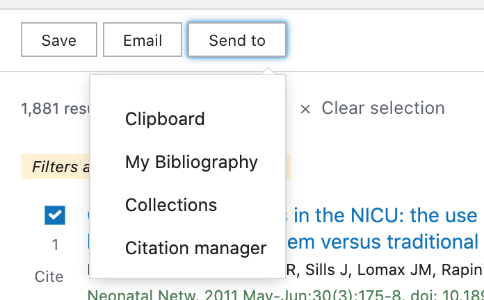 Options for the Send to button: Clipboard, My Bibliography, Collections, and Citation manager