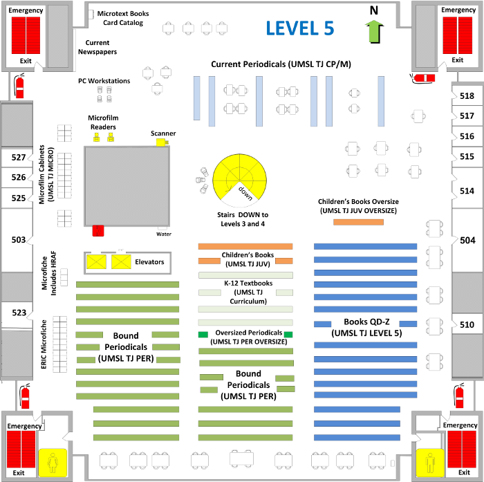TJ Library Level 5 floor plan