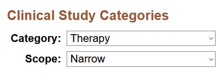 Image shows clinical study categories dropdown menu