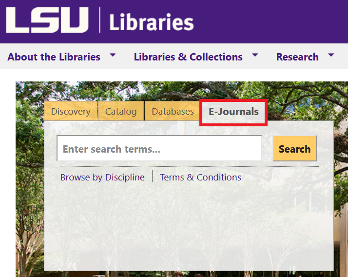 location of e-journals tab on LSU Libraries homepage