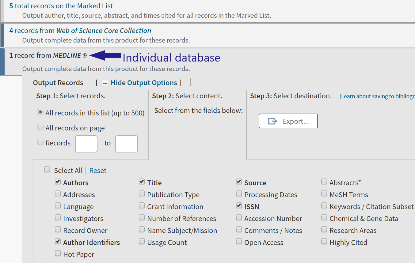 image shows individual database record selection tab