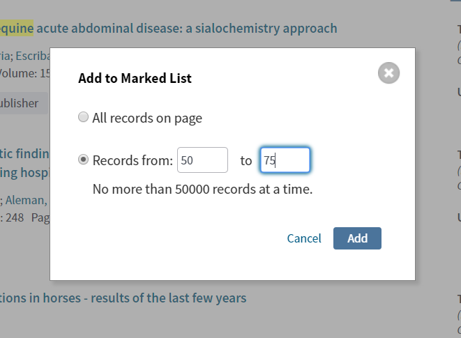 image shows add to marked list records from option