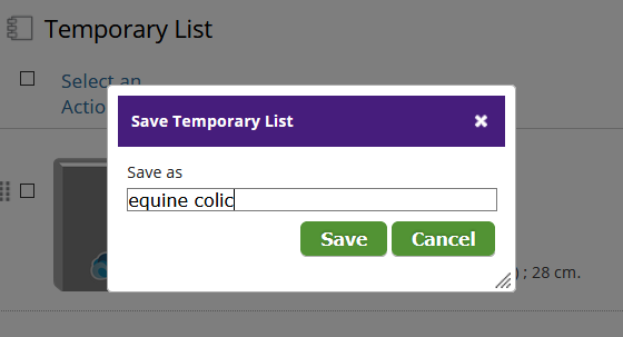 shows save temporary list save as naming box.