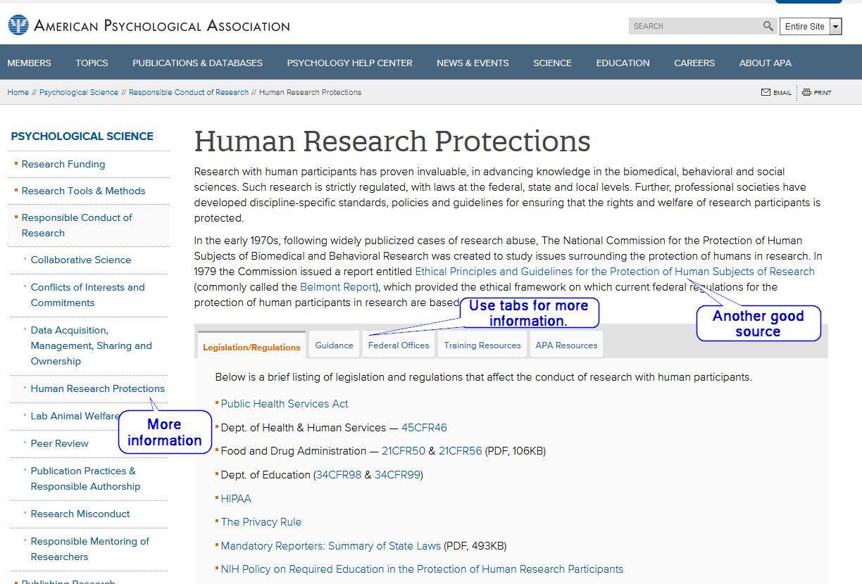 APA Human Research Protection website