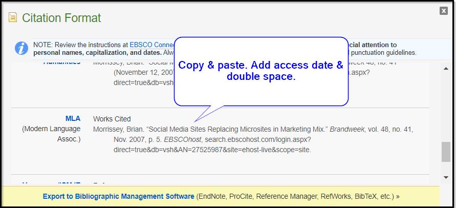 EBSCO MLA citation