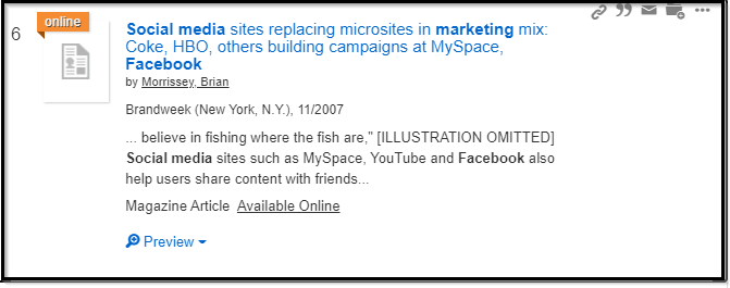 OneSearch EBSCO article