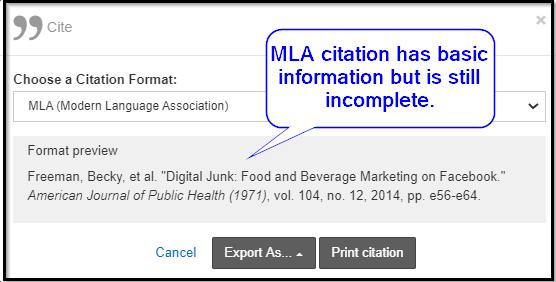 OneSearch MLA citation