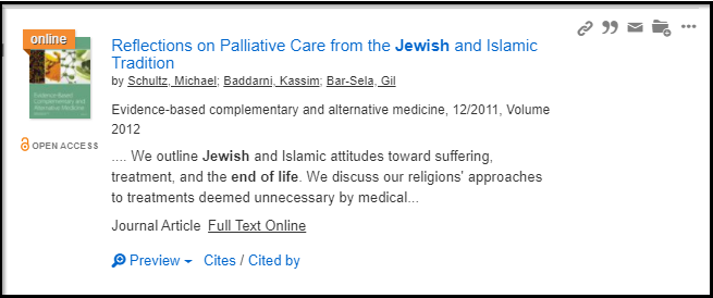 Jewish end of life first article listed