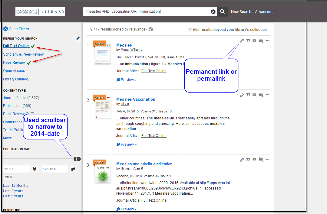 OneSearch showing permalink