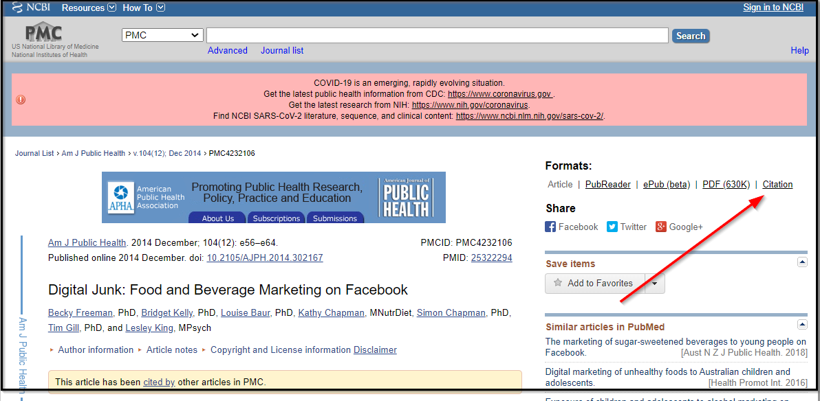PMC article arrow to citation