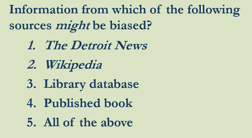 PowerPoint Info from which of the following might be biased