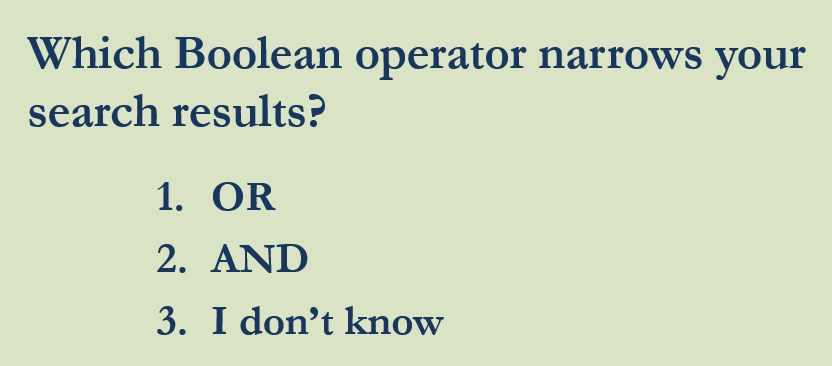 PowerPoint Which Boolean operator narrows your search results