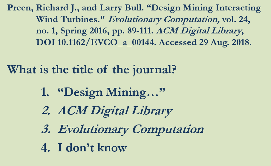 PowerPoint Identifying elements of an MLA citation