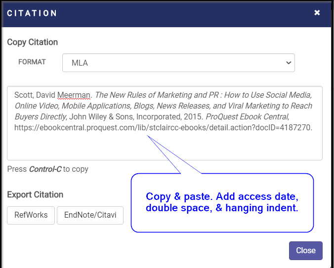 PQ ebook MLA citation