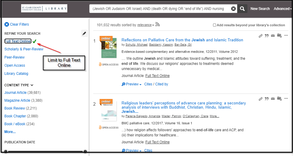 Jewish end of life OneSearch results