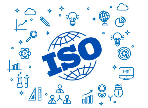 An image of the ISO standard logo with science clip art.