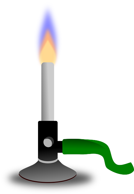 A bunsen burner with flame