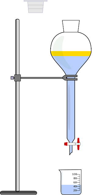 A titration stand and beaker