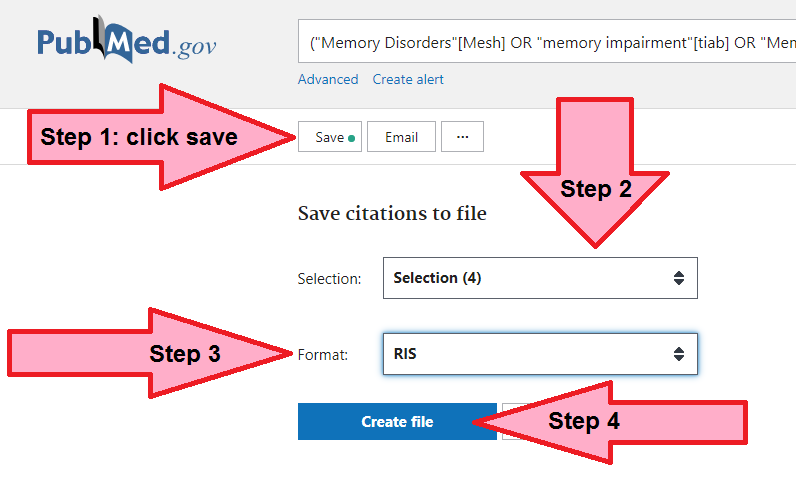 Screen-capture of Save menu for exporting PubMed results with arrows pointing to Steps 1 through 4 described above