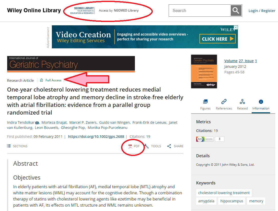Screen-capture of journal article page within Wiley Online Library, highlighting how to get the PDF and determine that you have successfully authenticated