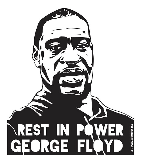 "Poster from Amplifier.org. Displays a portrait of George Floyd and reads ""Rest in Peace George Floyd"""